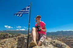 游人在希腊 免版税库存照片