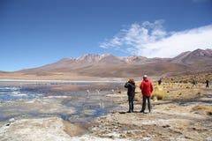 游人在有火鸟的盐水湖在Uyuni,玻利维亚 免版税库存照片