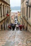 游人在费拉约港,意大利 免版税库存照片