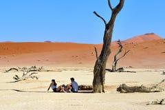 游人在Deadvlei, Namib-Naukluft国家公园,纳米比亚, Afri 库存图片