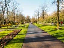 游人在Keukenhof 2016年,阿姆斯特丹,荷兰享用美丽的郁金香庭院 库存照片