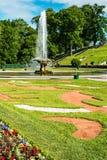 游人在Peterhof更低的公园的喷泉在Peterhof 库存照片