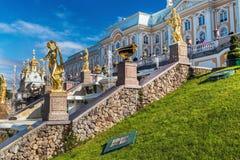 游人在Peterhof盛大小瀑布的喷泉 免版税图库摄影
