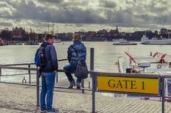 游人夫妇在斯德哥尔摩 图库摄影