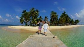 游人来到Aguja海岛的, Las perlas/巴拿马 库存图片