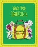 游人的海报印度的题材的 库存图片