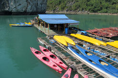 游人的皮船在海在下龙湾,在猫Ba附近海岛,越南 库存图片