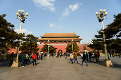 游人被入参观故宫 免版税图库摄影