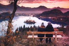 游客旅行欧洲夫妇  流血的湖斯洛文尼亚 免版税库存图片