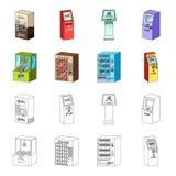 游戏机,票销售终端,卖的水色和巧克力一个自动机 终接机汇集象 库存图片