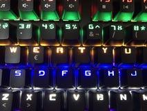 游戏玩家的五颜六色的键盘 免版税库存照片