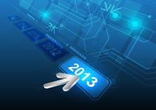 游标单击2013按钮 免版税库存图片