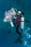 游泳与一辆坦克的潜水者 免版税图库摄影