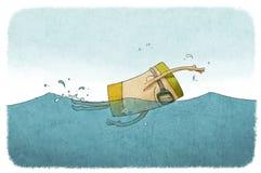 游泳人海洋马尔代夫黑暗云彩 库存图片