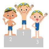 游泳儿童定货 免版税库存照片