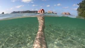 游泳分裂看法的妇女脚 股票录像