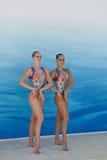 游泳同步 免版税图库摄影