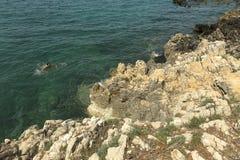 游泳在亚得里亚海的游人 免版税库存照片