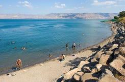 游泳在加利利海 免版税库存照片