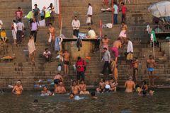 游泳在恒河河的年轻人作为宗教传统 库存图片