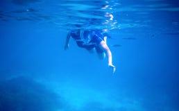 游泳在水面下在正面面具的妇女 与文本地方的蓝色海横幅模板 免版税图库摄影