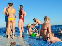 游泳在海的人 免版税库存照片