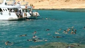 游泳在游艇附近的人们 影视素材