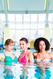 游泳在水池的妇女 库存照片