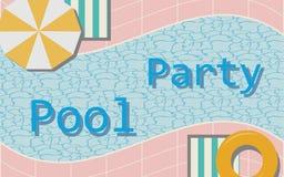 游泳场设计背景 伞和浮游物圆环,亚麻布 皇族释放例证