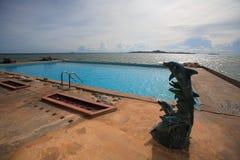 游泳池、太阳懒人在庭院旁边和大厦 库存照片