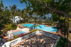 游泳池、棕榈树和蓝天 免版税库存照片