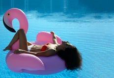 游泳池休闲的妇女在红色比基尼泳装的一个巨型可膨胀的巨型桃红色火鸟浮游物床垫 免版税库存图片