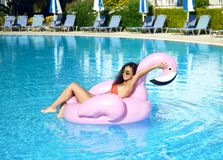 游泳池休闲的妇女在红色比基尼泳装的一个巨型可膨胀的巨型桃红色火鸟浮游物床垫 库存图片