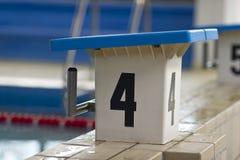 游泳池出发台 免版税库存图片