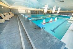 游泳池在一家五星旅馆的温泉中心保加利亚语的Kranevo 库存照片