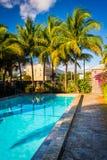 游泳池在一家旅馆在西棕榈海滩,佛罗里达 库存照片