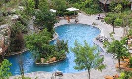 游泳池在热的海公园, tengchong,瓷 图库摄影