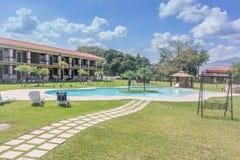游泳池在盛大Caporal旅馆在危地马拉 免版税库存图片