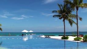 游泳池有在马尔代夫海岛上的豪华海景 股票视频