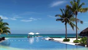 游泳池有在马尔代夫海岛上的豪华海景 影视素材