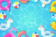 游泳池框架 五颜六色的浮游物在水,传染媒介动画片例证中 孩子戏弄火鸟,鸭子,多福饼,独角兽 向量例证