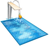 游泳池的一个男孩 皇族释放例证