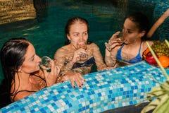 游泳池的三个女性朋友 库存图片