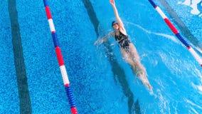 游泳池的运动员游泳  顶视图 影视素材