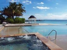 游泳热带木盆的海滩热池 图库摄影