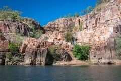 游泳的安全绿洲在凯瑟琳河峡谷巡航期间 免版税库存图片