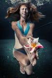游泳的小姐在水面下 免版税库存图片