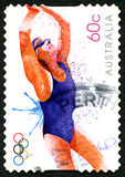 游泳的2012奥林匹克澳大利亚邮票 免版税库存图片