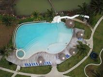 游泳的Poool的顶视图 免版税库存照片