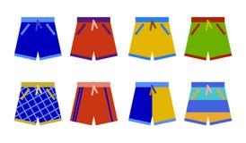 游泳短缺汇集 游泳裤设置了象平的设计传染媒介 免版税图库摄影